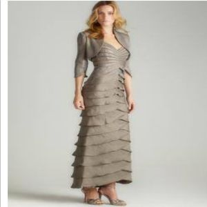 Adrianna Papell 10 Long Tiered Gown & Bolero Coat